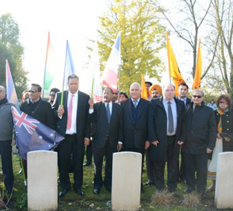 Interfaith Association organised a visit to Indian heroes of ww1 cemetry at the city of 62 LA COUTURE on 12 Nov, 2016-